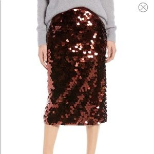 Halogen maroon sequin party dance pencil skirt